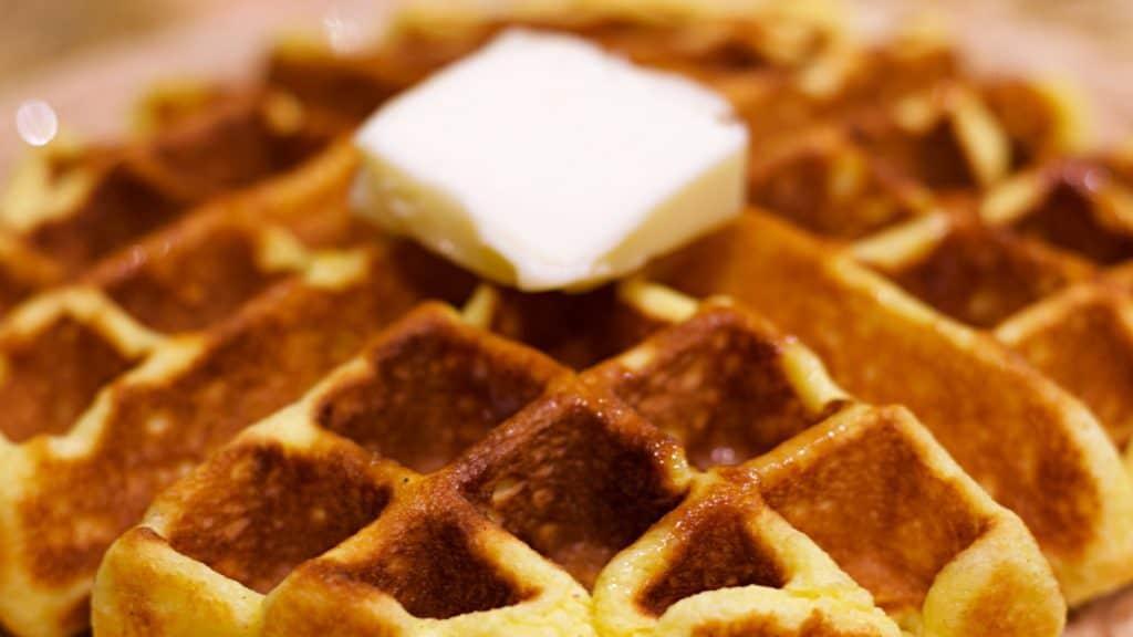 Keto Belgian Waffle Closeup Wide