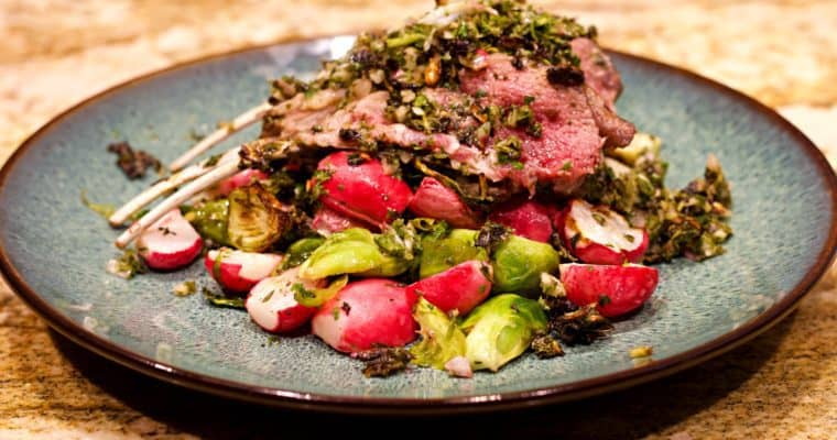 Keto Chimichurri Lamb With Roasted Vegetables