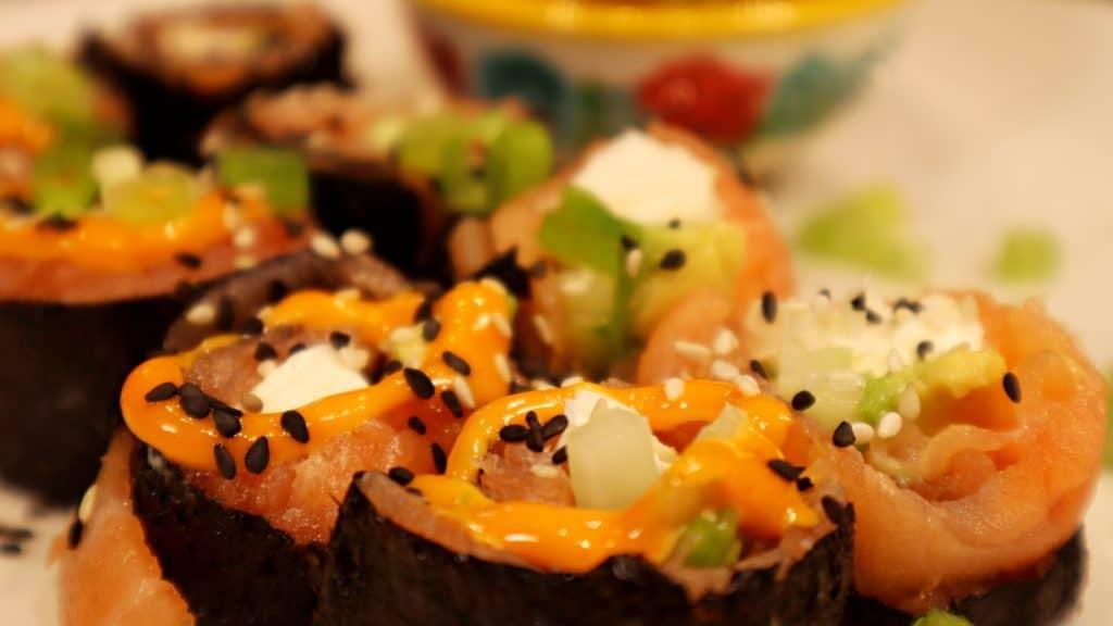 Keto Sushi Salmon Roll Recipe Closeup