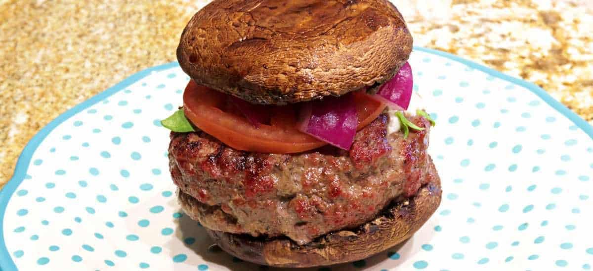 Keto Mozzarella Stuffed Portobello Burger Recipe