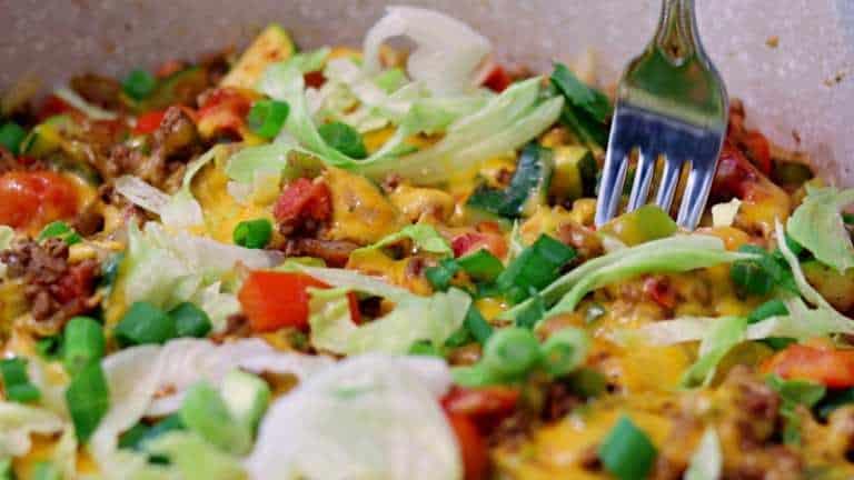 Keto Cheesy Taco Skillet Closeup