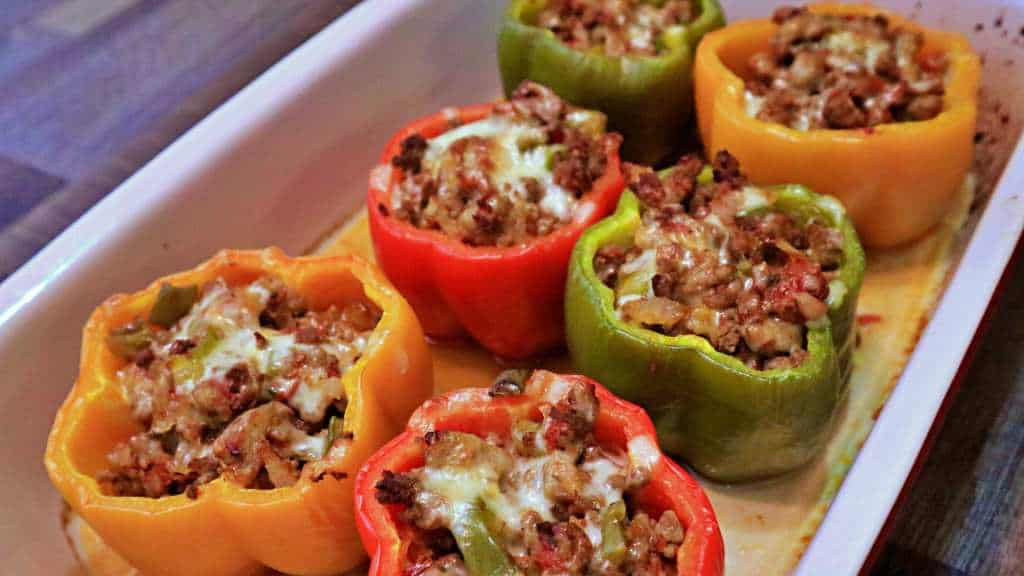 Keto Stuffed Peppers Recipe - Diagonal