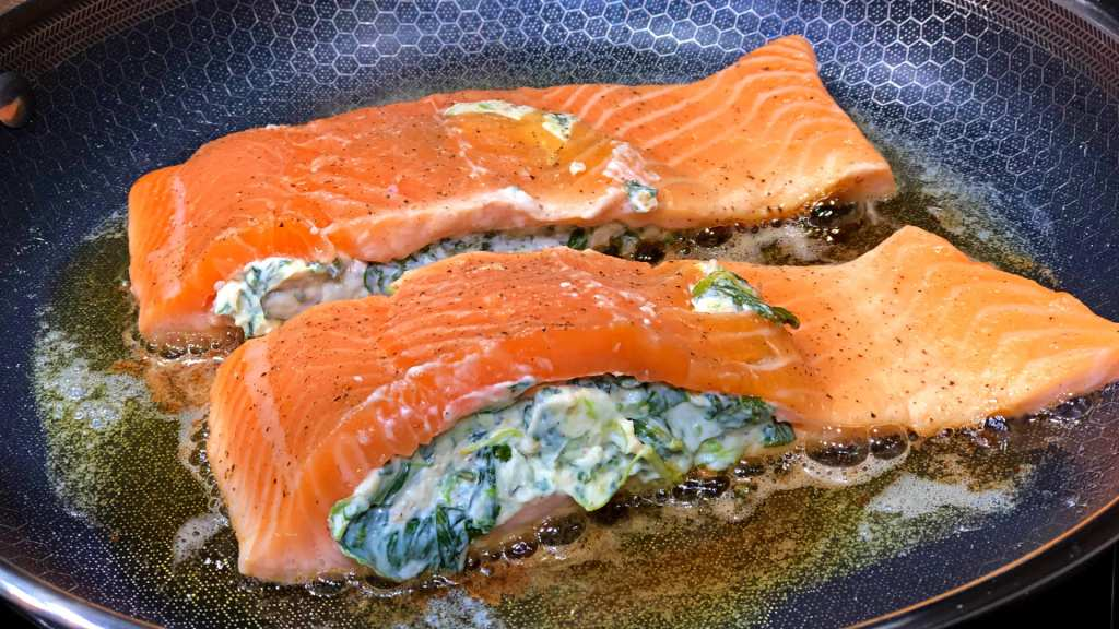 Keto Stuffed Salmon Cooking