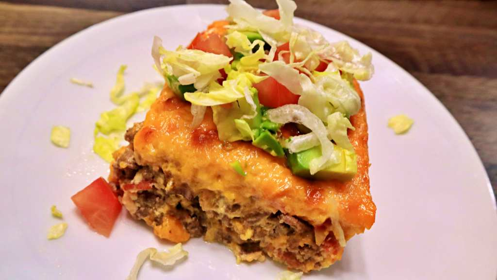 Keto Bacon Cheeseburger Casserole Slice