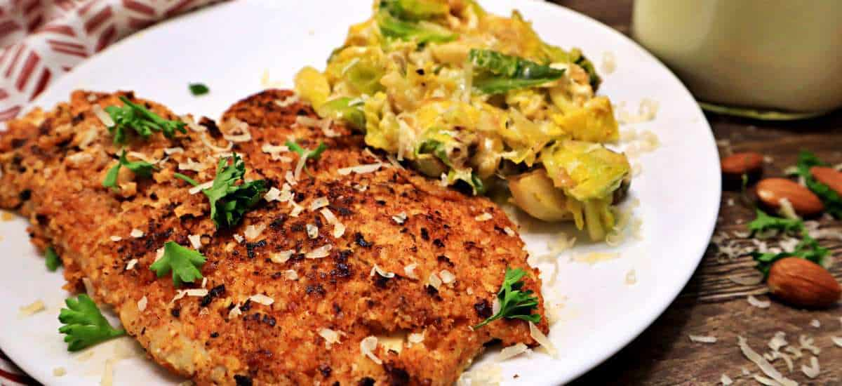 Keto Almond Crusted Fish With Cheesy Brussels Sprouts