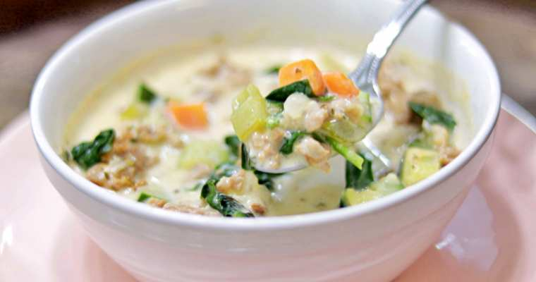 Keto Creamy Sausage and Veggie Soup Recipe