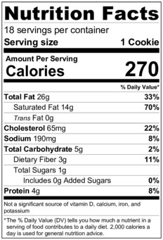 Keto Sugar Cookies Nutrition Label